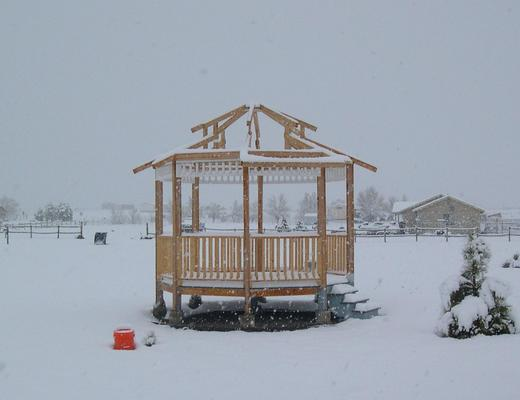 Photo of gazebo in the snow