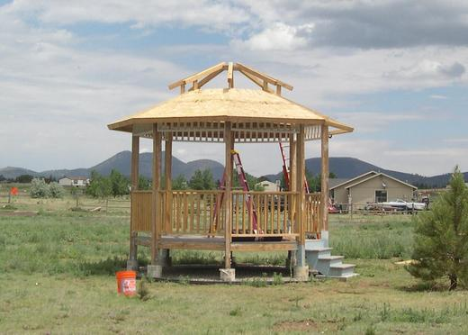 Photo of gazebo with roof partially  finished