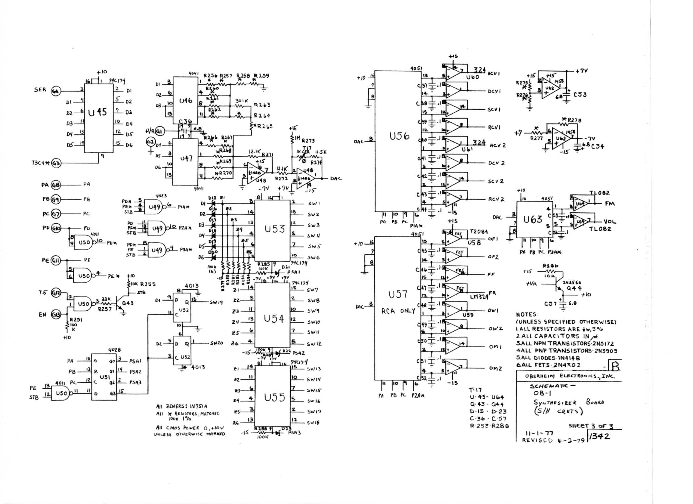 miscellaneous oberheim files ob 1 synthesizer board schematic 3 of 3