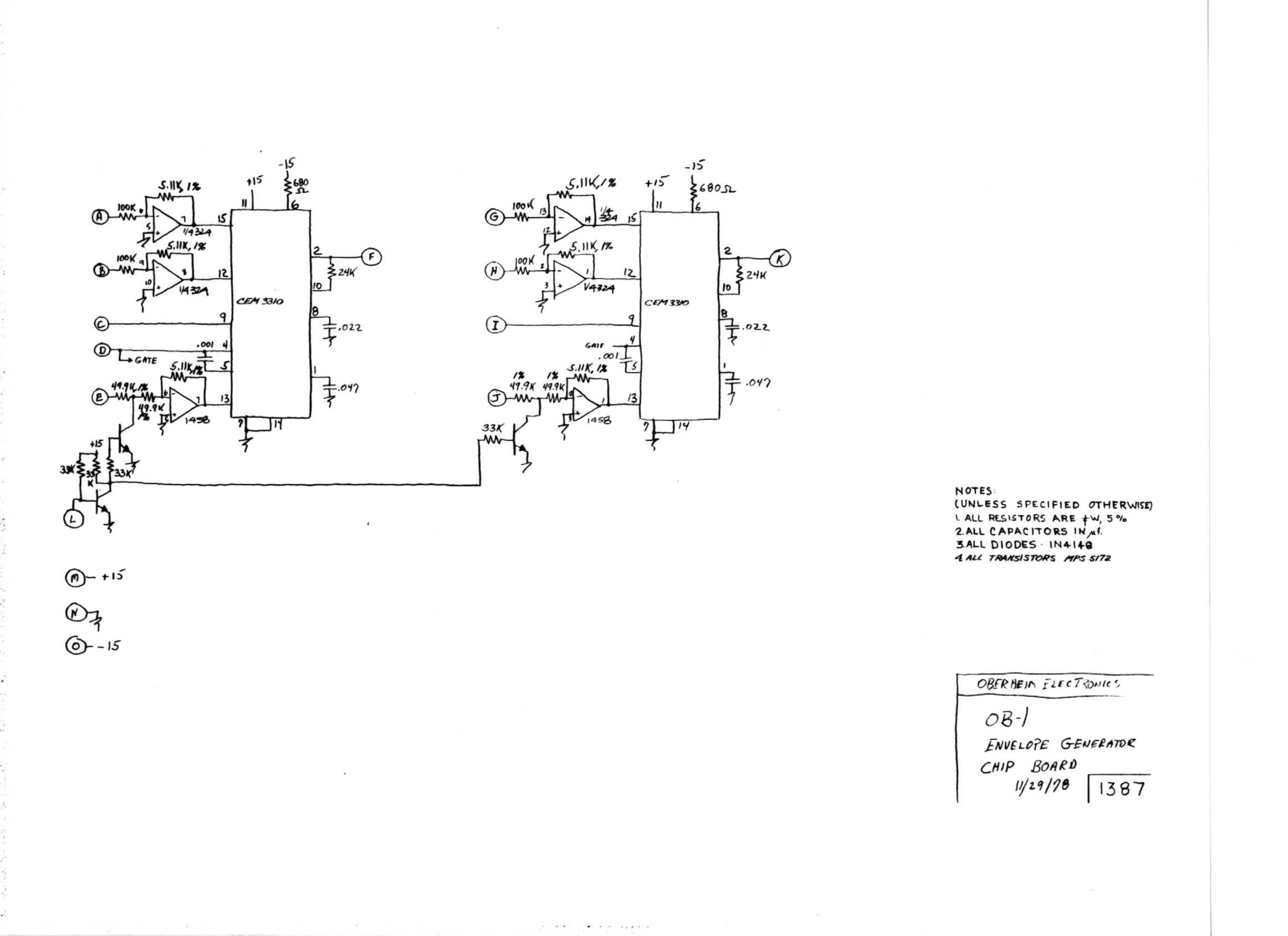 schematic · ob-1 envelope generator chip board