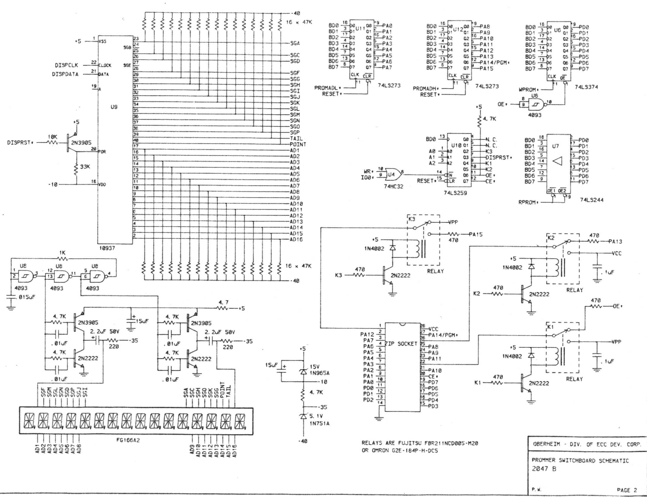 Miscellaneous Oberheim Files Panel Board Schematic Prommer Front Page 2 Of Main